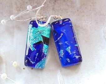 Blue Earrings, Aqua, Dichroic Glass Earrings, Fused Glass Jewelry, Sterling Silver, Dangle, A11