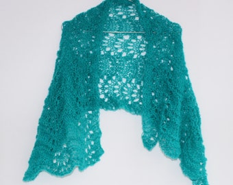 Free shipping, gift for her, Short Turquoise  waves lace SCARF ---hand knitted, ready to ship