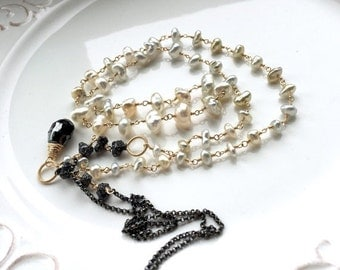 Sale - Save 20% - Black Diamond Rough Beads Saltwater Keshi Pearls Mixed Metal Layering Necklace - 12cts. Black Diamonds