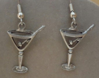 Martini Glass with Oliver Skewer Pewter Earrings