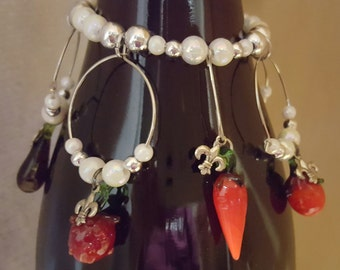 "Glass Bead Veggie Fruit Wine Glass Markers ""Fleur de Lis by the Sea"" Collection"