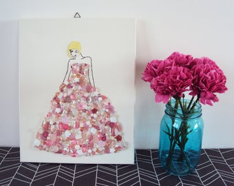 Embroidery, beaded ART. Embroidery fashion iilustration. Lady in pink.