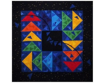 Colorful Abstract Art Quilt, Fabric Wall Hanging, Fiber Art, Traditional Log Cabin Block