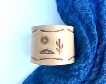 Indigo Kerchief with Desert Sunrise pattern Scarf Ring