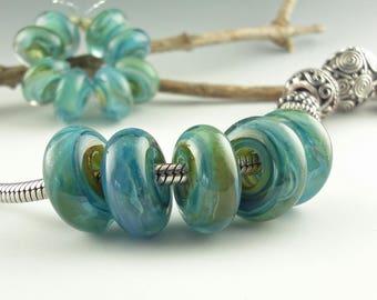 Lampwork Glass bead, Big Hole Bead, Slider Bead, Lampwork BHB, Euro Style Charm Bracelet, focal bead, Euro Charm Bead, Neptunes Dream, Dread