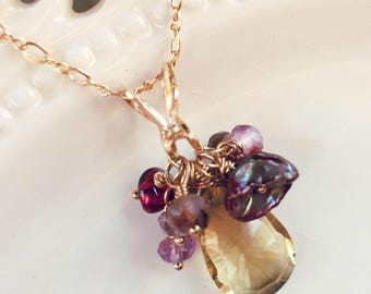 Topaz Necklace, Yellow Topaz, Gold Necklace, Pearl Necklace, Amethyst, Garnet, Smoky Quartz, Mother's Day Gift, Grandmother, June Birthday