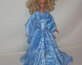 Handmade Blue Velvet Panne Medieval Style Barbie or Fashion Doll Dress - Crown & Belt