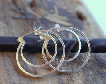 Sterling Silver Double Hoop Earrings gift for her