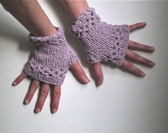 Short Lavender Fingerless Gloves