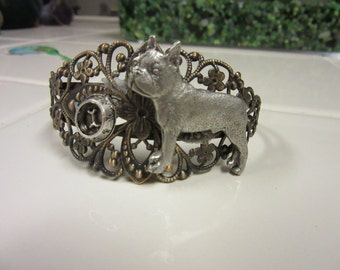 Lovely Boston Terrier Antiqued Brass and Pewter Cuff Bracelet with Feedig Bowl
