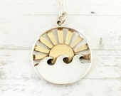 Wave necklace, Sterling silver waves with sun sunrise sunset, summer jewelry gift for her, ocean waves, vacation, travel jewelry, wanderlust