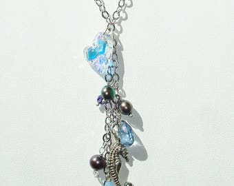 Argentium silver .935 seahorse and crystal heart necklace with shiny rhodium silver chain