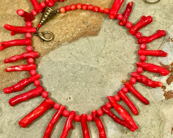 Red Coral Necklace - Big Bold Chunky Bright Red Coral and Bronze Handmade Statement Necklace OOAK