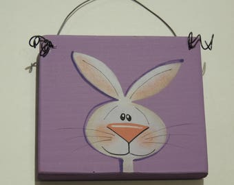 Bunny Plaque on Wire-Handpainted