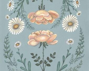 Daisy Rose Fern - Original Painting