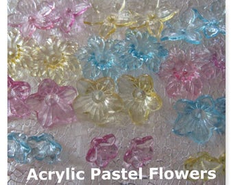 Acrylic Flower Beads assorted colors    54 Charms 22mm 18mm 12mm