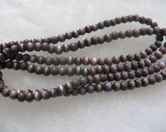 Purple Cat's Eye Beads 2 - 13 inch Strands 180 Beads Total