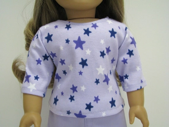 """18 Inch Doll Clothes - 18"""" Doll Outfits - 18 Inch Doll Top - Light Purple / Lavender Star Top - 18"""" Doll Clothes - Handmade Doll Top"""