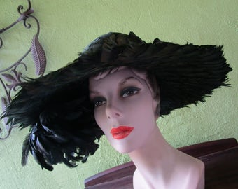 Irridescent Green Plume Covered Feather Hat Albrizio Vintage Church Easter Derby