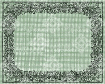 Digital Download, Floral Wildflowers Frame Border, Transparent png, Digi Stamp, Iron on Transfer, Rectangle 11x8.5 in, Antique Vintage