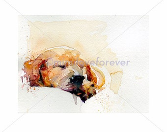 Puppy Print. Labrador puppy art. Watercolor puppy print. Dog art prints, ready to frame. A4