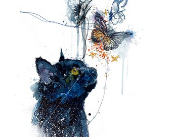 Black Cat Art Print. Cat Art. Cat Watercolour Print. Fluffy Cat. Feline Wall Art with Butterflies.