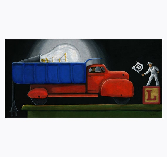 Light Load - imaginative realistic vintage truck toy still life humourous Original painting