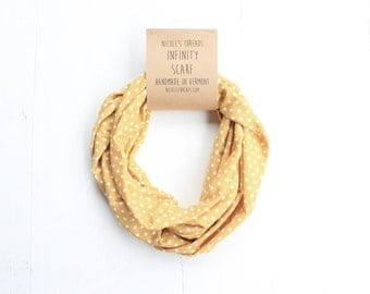 READY TO SHIP Infinity Scarf - Cotton Jersey - Yellow With White Polka Dots - Knit Fabric - Stretchy - Scarf