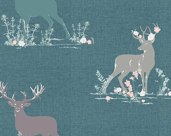 Dear Deer Teal - Blithe - AGF - Cotton Quilting Fabric with Deer - Katarina Roccella - BLI-75602 - Deer Stag Woodland Forest Nature Nursery