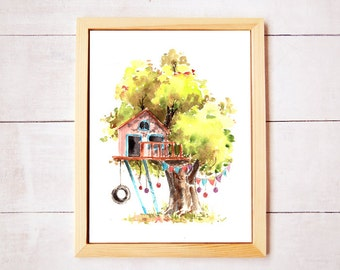 Treehouse Series 6 Watercolor Art Print - Digital Download