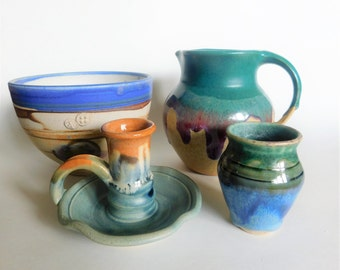 VINTAGE Studio Pottery Collection Bowl, Pitcher, Candle Holder, Mini Vase,
