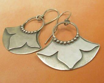 Sterling Silver Lotus Earrings, Silver Flower Jewelry, Lotus Blossom Earrings, Artisan Earrings Mocahete Metalsmith Jewelry, Bridal Earrings