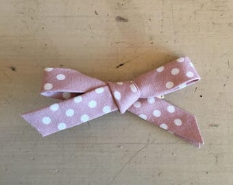 Mauve Polka dot Hand-tied Bow // Fabric Bow Headband // Flower Bow // School Girl Bow // Nylon Headband // Mini Bow // Bow Hair Clip