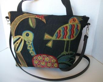 Crazy Bird Convertible Strap Upholstery Fabric bag