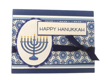 Hanukkah Cards, Handmade Holiday Cards, Happy Hanukkah, Set of 8 Cards with Menorah, Navy Blue and White, Chanukah Cards