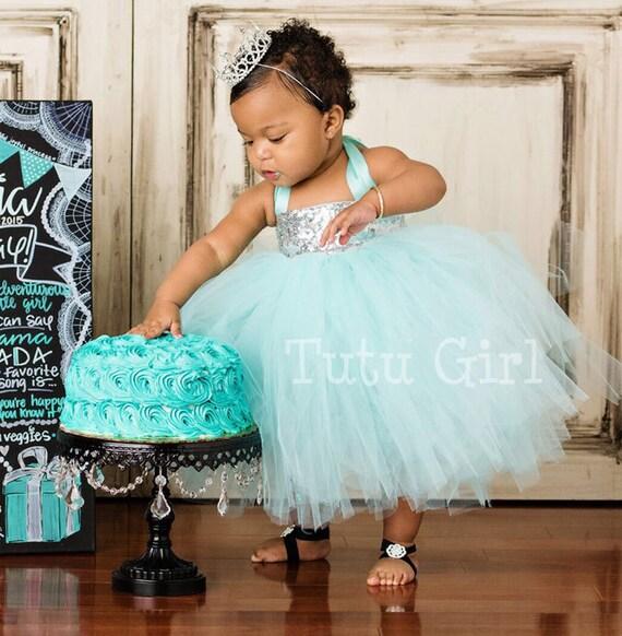 Aqua Silver Tutu Dress Sequin