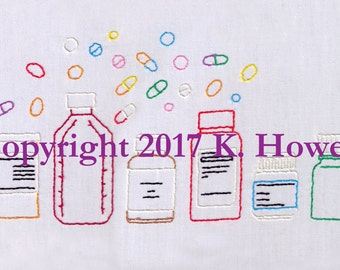 Medication Hand Embroidery Pattern, Pharmacy, Pills, Prescription, Drugs, Syrup, Prescribe, Medicine,  Doctor, PDF