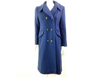 Vintage 60s Electric Blue Woven Wool Coat// Double breasted Wool Coat // Blue Winter Jacket// Size S // 96