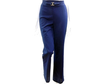 Vintage Blue Pants // 70s 80's Navy Blue Classic Tight Polyester Flair Pants // High Waist Navy Blue Pants //  Size S // 153