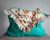 Vintage Hand Woven Fringe Textile and Leather Pouch//Clutch