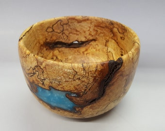 Spalted Wood Bowl with Acrylic Inlay