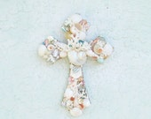 Shell Cross, Cross with Shells, Shell Crucifix, Seashell Cross, Pastel, Valentine, Christian Priest Minister Gift, Religious Gift, Baby Gift