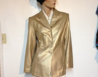 Gold Leather Jacket Size 6 Vintage 90s Valerie Stevens NWOT