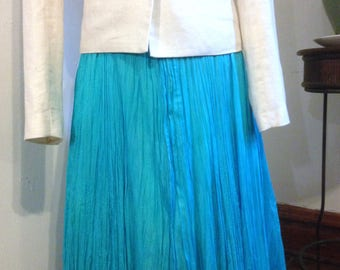 Turquoise Silk Broomstick Skirt 80s NWT Size L to XL
