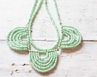 Beaded Bib Necklace, Chunky Necklace, Aqua Green Necklace, Statement Bib Necklace, Seed Beads Necklace, Beaded Necklace