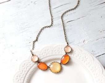 Orange, Gold and Pink Necklace, Statement Necklace , Minimalist Necklace, Colorful Necklace, Glass Dome Necklace, Bib necklace
