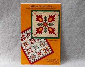 Quilt Block Pattern - Tulips & Berries by Piece O' Cake Designs - Appliqué Pattern