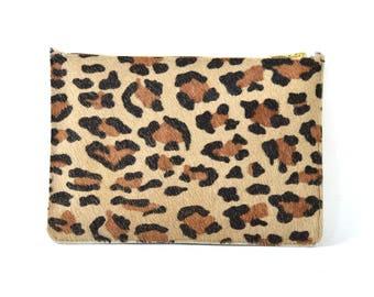 Coralie - Handmade Leopard Print Hair On Hide Leather Clutch Bag Zip Pouch Purse SS17