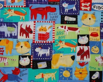 Cat and Dog - fabric - A Nancy Wolff Design -  OOP