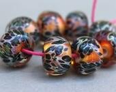 Boro Glass Lampwork Beads - Borosilicate - Green Blue Yellow Spots Orange Base
